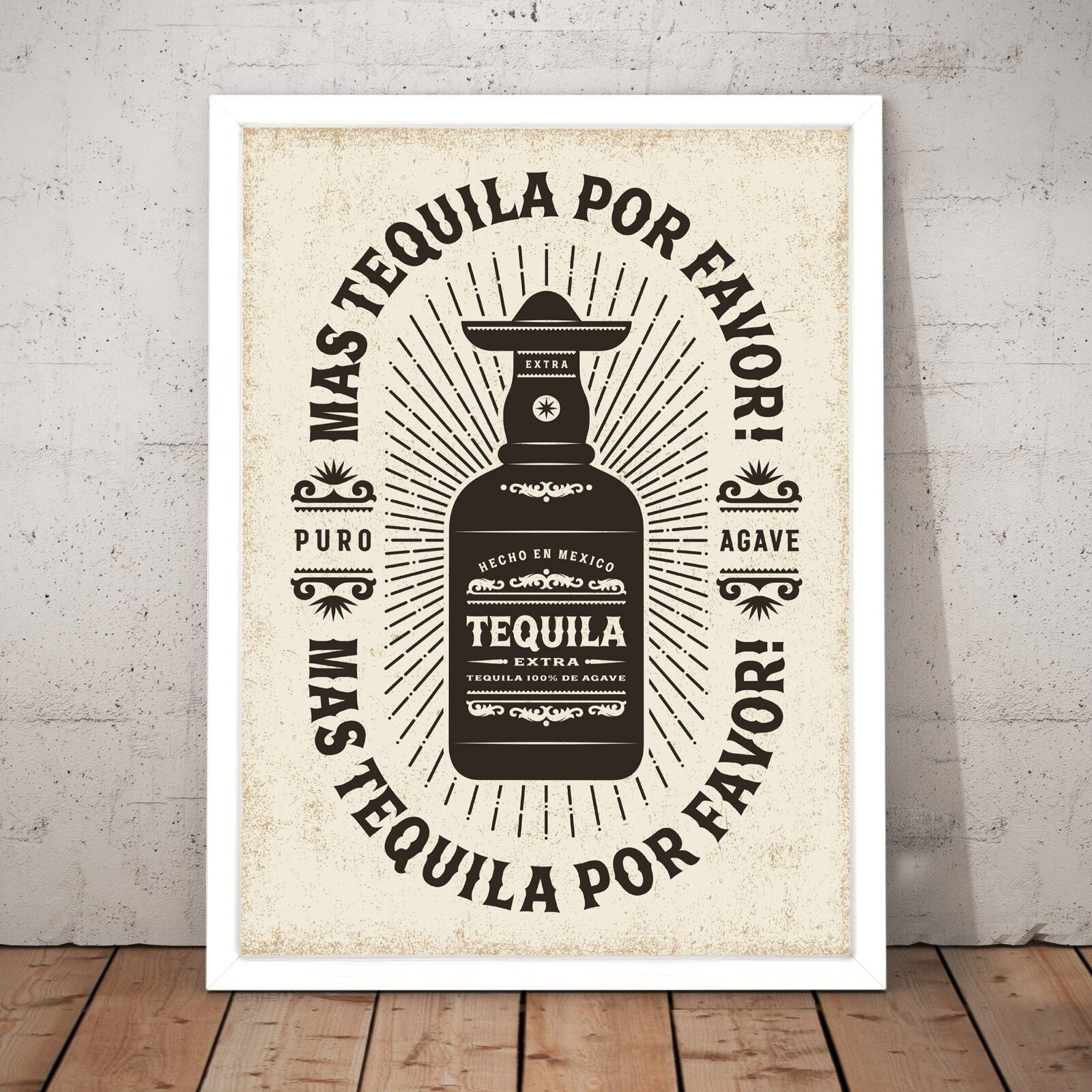 Vintage Tequila Mexican Bar Cafe Decor Art Poster Print - A3 A2 A1 A0 Framed