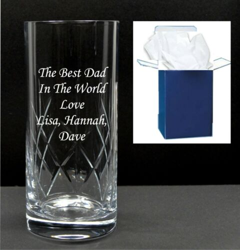 Personalised engraved crystal highball vodka glass 21st 18th birthday gifts