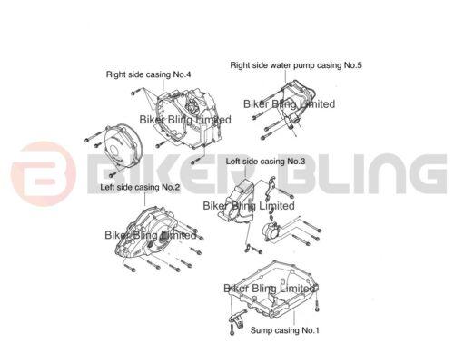 Honda VTR1000 SP1 SP2 2000-2006 stainless steel engine casing bolts