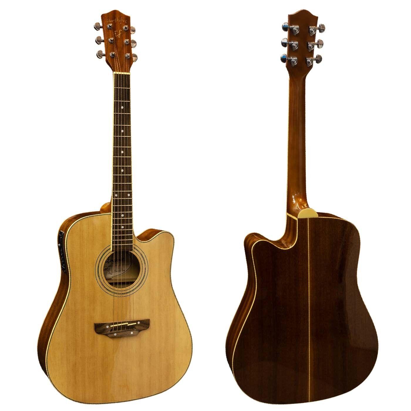 Earthfire Dreadnought Electro Guitarra Acústica Cuerdas Cuerdas Cuerdas De Acero Cutaway GA3090E C  sin mínimo