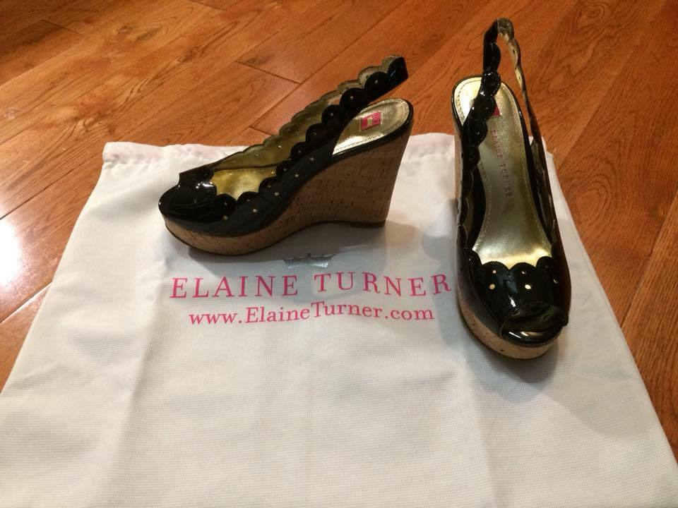 Elaine turner naomi naomi naomi patent and cork wedge Sandale Größe 6.5 US 5a333f