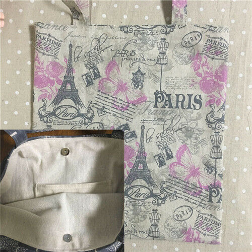 Cotton Linen Eco Shopping Tote Shoulder Bag Pink Flower Butterfly L503 S#