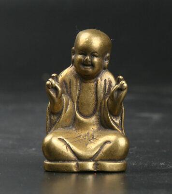 39MM Collect Curio Chinese Small Bronze Buddhism Maitreya Happy Buddha Statue