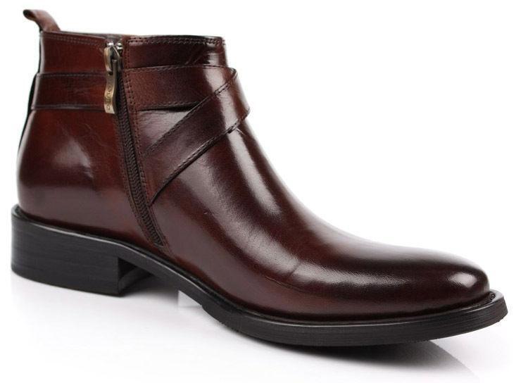 Classico Da Uomo Stivaletti in vera con pelle con vera fibbia e zip laterale scarpe formali B#55 c32ed9