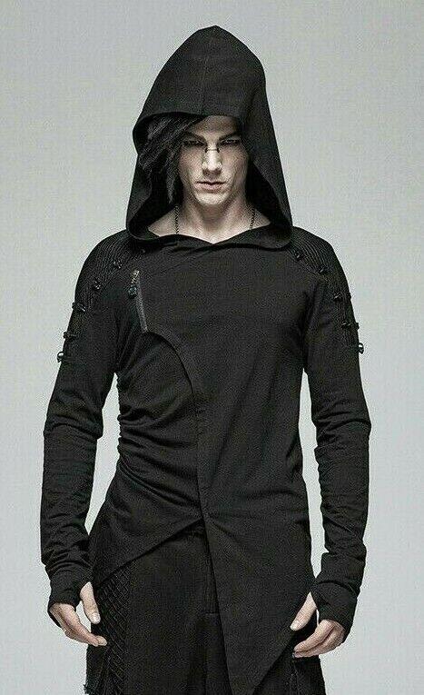Punk Rave WT-562 Men's Gothic Hooded Sweatshirt Asymmetric Hem