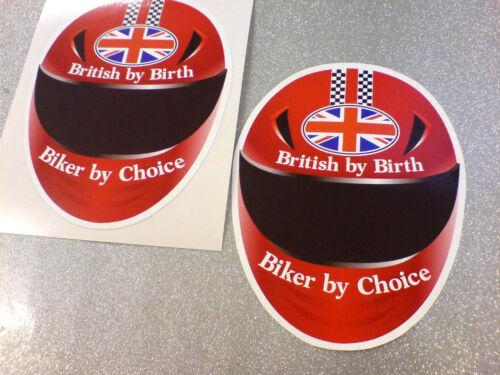 BRITISH BY BIRTH BIKER BY CHOICE Car Motorcycle Van Stickers Decals 2 off 85mm
