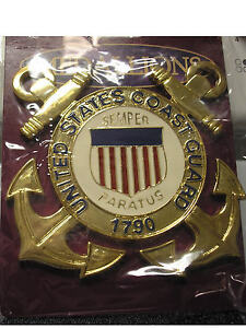 MILITARY-EMBLEM-MEDALLION-UNITED-STATES-COAST-GUARD-SOLID-BRASS