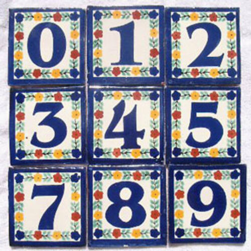 2 Mexican 4x4 tile House Numbers Tiles with Iron Frame