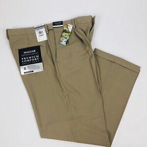 HAGGAR-Men-s-Premium-Comfort-Dress-Pants-Sz-W34-X-L29-Khaki-Color-Pleated