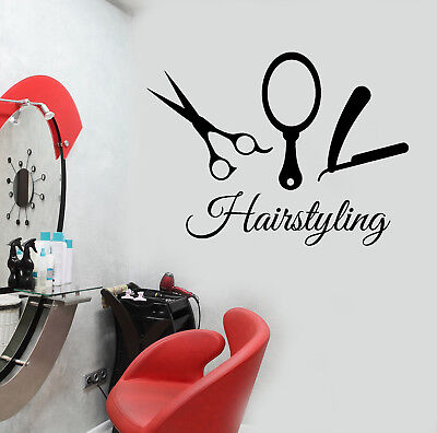 n830 Vinyl Decal Wall Sticker Beauty Hair Salon Tools Hairstyling Studio Decor