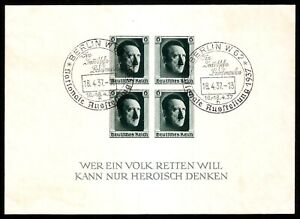 DR-Nazi-3rd-Reich-RARE-WW2-STAMP-Hitler-Head-Fuhrer-Block-039-8-17-4-37-Birthday-Eve