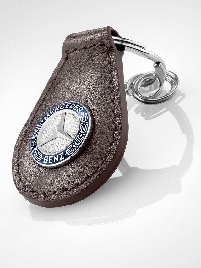 Mercedes-Benz Schlüsselanhänger Classic braun blau silber Rindleder B66041522 | Perfekte Verarbeitung  | Hohe Sicherheit  | Genialität