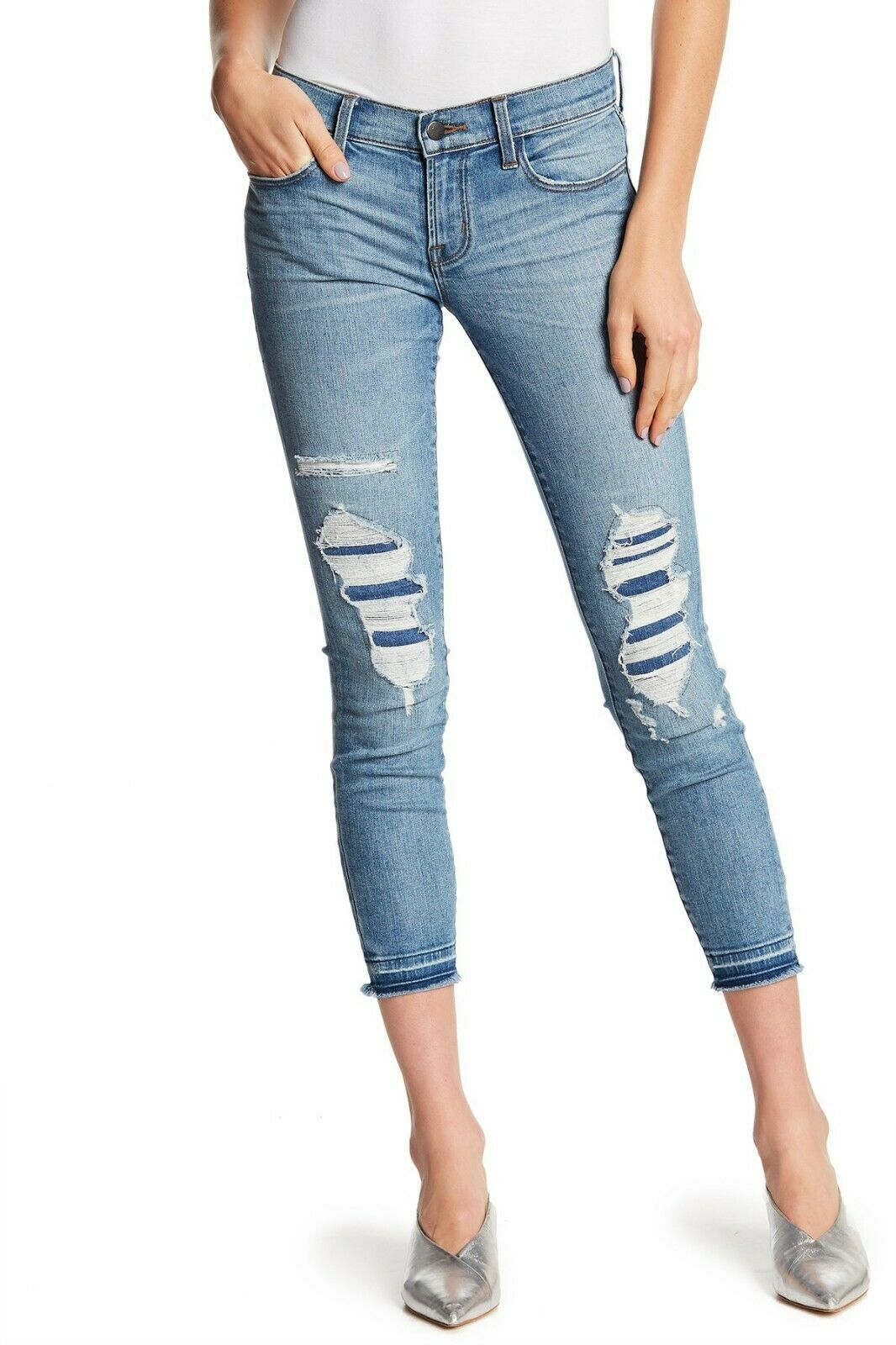 268 NEW J Brand 9326 Low Rise Crop Skinny Jeans in Diversion Destruct - Size 27