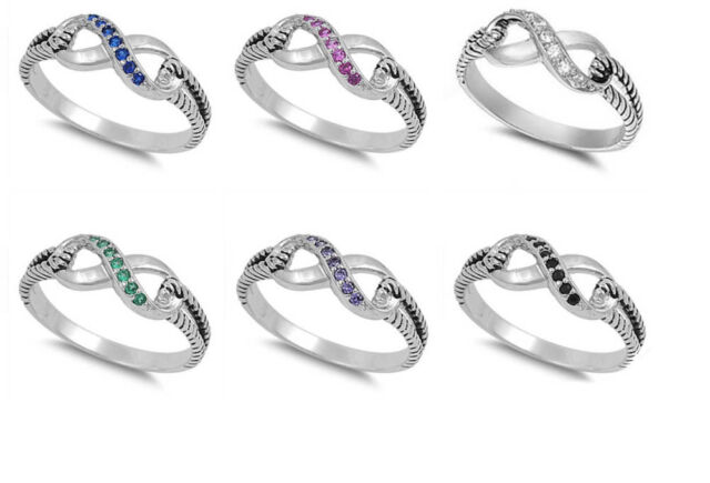 BEST SELLER INFINITY LOVE INFINITY KNOT SOLID STERLING SILVER RING SIZES 3-12