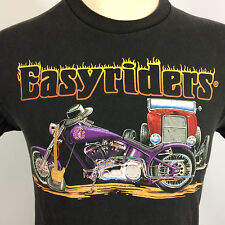 Harley Davidson Easyriders Motorcycle Custom Car T Shirt VTG Black Distressed
