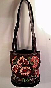 LIZ-CLAIBORNE-Small-BUCKET-Style-BROWN-Canvas-FLORAL-Beaded-Trim-Shoulder-Bag