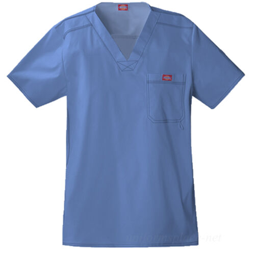 Dickies Scrubs Top Mens MEDICAL SCRUB Youtility V-neck Shirts Chest Pocket 81722