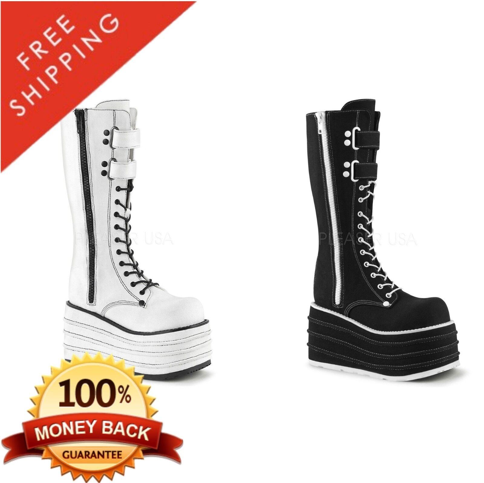 Demonia MORI-310 Women's Platform Lace-Up Front Knee High Boot Canvas Canvas Canvas 3ec37d