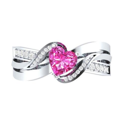 Heart Shaped Garnet Silver Plated Imitation Diamond Jewelry Ring Fashion G