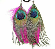 REAL FEATHER EARRINGS - PEACOCK & CERISE