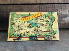 Vintage Greetings From Pennsylvania Wood Decorative Box With Map , Baden PA