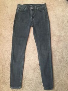 3b43ded3ec4 HUDSON JEANS~NICO SUPER SKINNY~MID RISE~FADED BLACK STRETCH DENIM ...