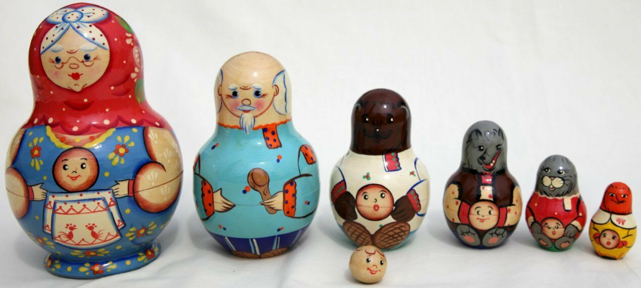 Traditional 7 Piece Russian Doll set Grandma and family