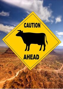 Road Sign  Novelty Cow Road Sign Reproduction Novelty Road Sign Man Cave Sign