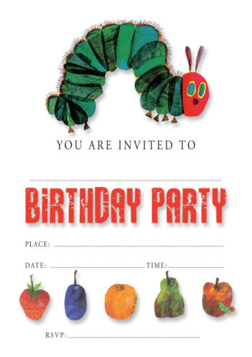 #15 HUNGRY CATERPILLAR Pack of 10 kids children birthday party INVITATIONS