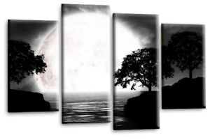Landscape Abstract Art Picture Black White Grey Big Moon Reflection Canvas New