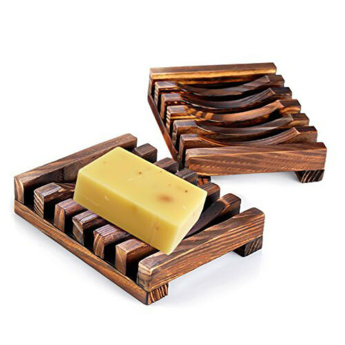 Hand Made Natural Wooden Soap Dishes Premium Anti-Slide Sink Soap Drainer Saver