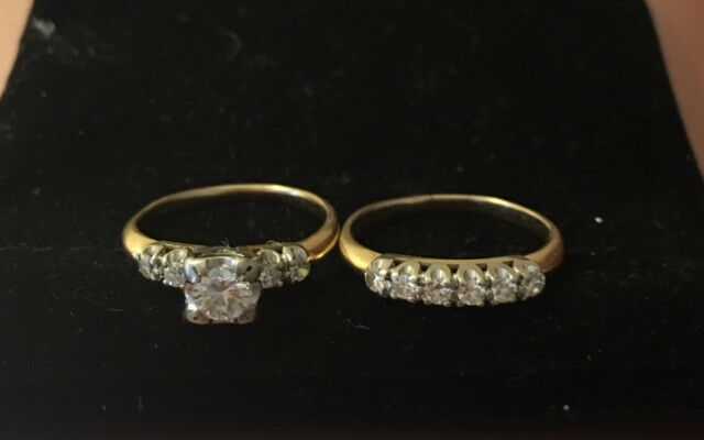 Vintage 1970's Illusion Setting Engagement & Wedding Rings