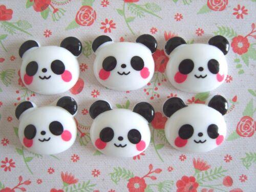 6 x Cute Panda Face Flatback Resin Embellishment Crafts Cabochon Decoden UK