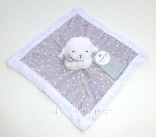 Carters Lamb Gray White Stars Security Blanket Soft Plush Baby Lovey 67048 NWT