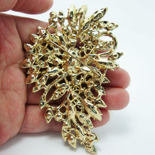 Fashion Fleur Art Deco Ovale Floral Broche Pin Vert Strass Cristal Pendentif