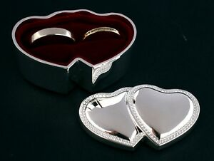 Wedding-Ring-Box-Silver-Double-Hearts-Bearer-Box-Great-Small-Size-for-Pocket