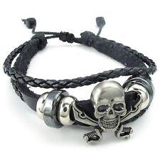 MENDINO Men's Alloy Leather Bracelet Woven Skull Swords Pirate Adjustable Black