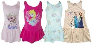 Girls-Dress-Summer-Disney-Frozen-Elsa-amp-Anna-Sleeveless-RaRa-Skirt-2-to-10-Years