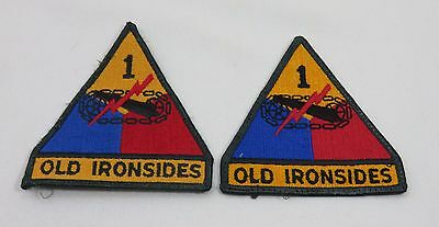 Army Military Patch set Old Ironsides 1st  Armored Division Set of 2 Multi-color