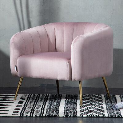 Blush Pink Fabric Velvet Tub Chair Shell Armchair Office Living Bedroom Lounge Ebay