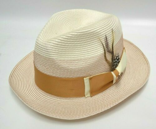 Men/'s Ivory and Cognac Poly Braid Fedora By Bruno Capelo SI-962