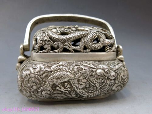 China silver handwork carved beautiful censer water dragon incense burner Statue