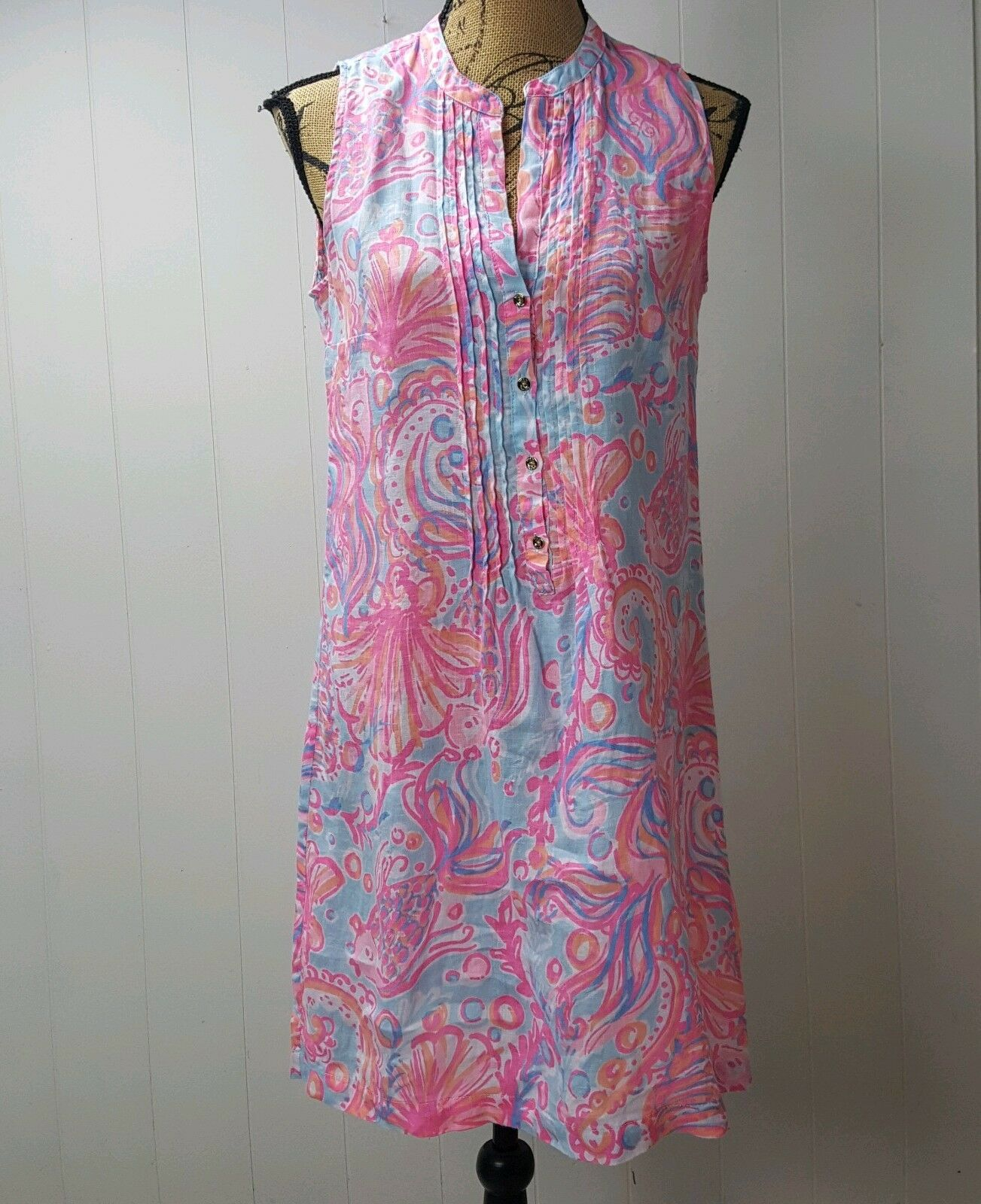 LILLY PULITZER Tunic Dress damen Small Rosa Pout Too Much Bubbly Sarasota Linen