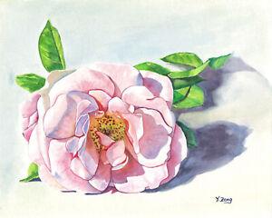 Original-artwork-gouache-watercolor-painting-Rose-on-paper-8-10-034-flower