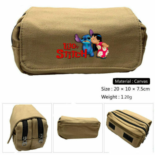 kids Lilo And Stitch canvas pencil case student pen bag make up storage bag