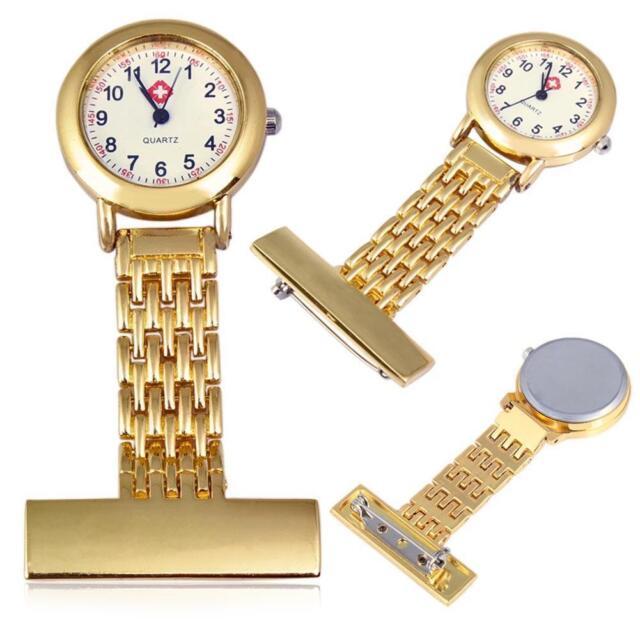 Best Brand Vintage Silver Stainless Steel Nurses Pocket Quartz Fob Watch Gold MT