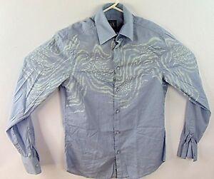 Giorgio-Armani-Exchange-Mens-Light-Blue-Dress-Shirt-Size-Small-Unique-Design