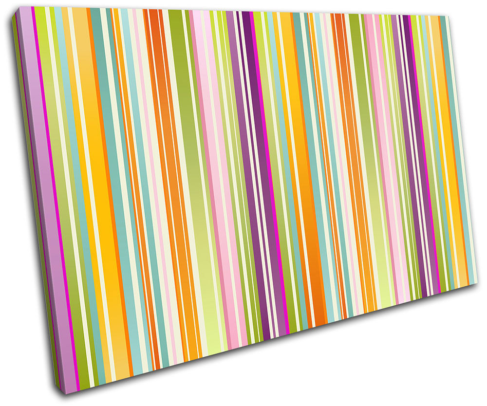 Colour Stripes Modern Abstract SINGLE TOILE murale ART Photo Print