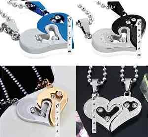 1c20973d593c Detalles de Colgante Corazón Separables Enamorados Pareja Amor Devocional  Acero + 2 Collares