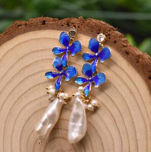 B15-Earrings-Gold-Plated-Barockperlen-With-Blue-Cloisonne-Flowers